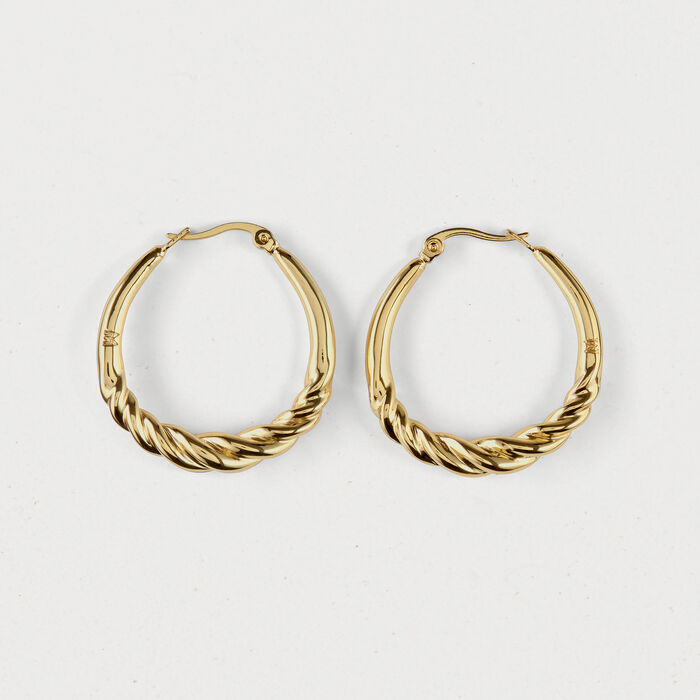 Twisted hoop earrings : Jewelry color GOLD