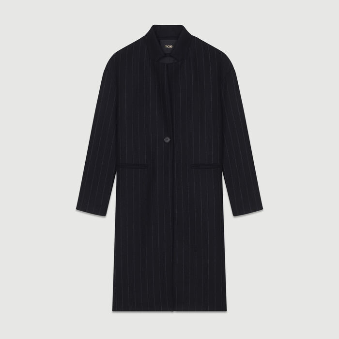 Straight coat with thin stripes : Coats color
