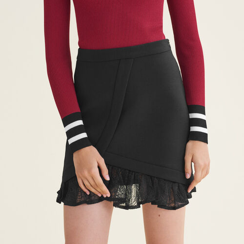 Asymmetrical skirt with lace details - Skirts & Shorts - MAJE