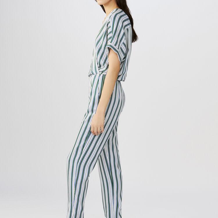 Striped jacquard jumpsuit : Trousers color Stripe