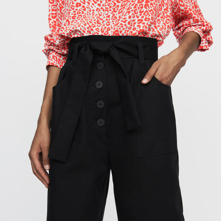 Wide high-waist pants : Ready to wear color Black 210