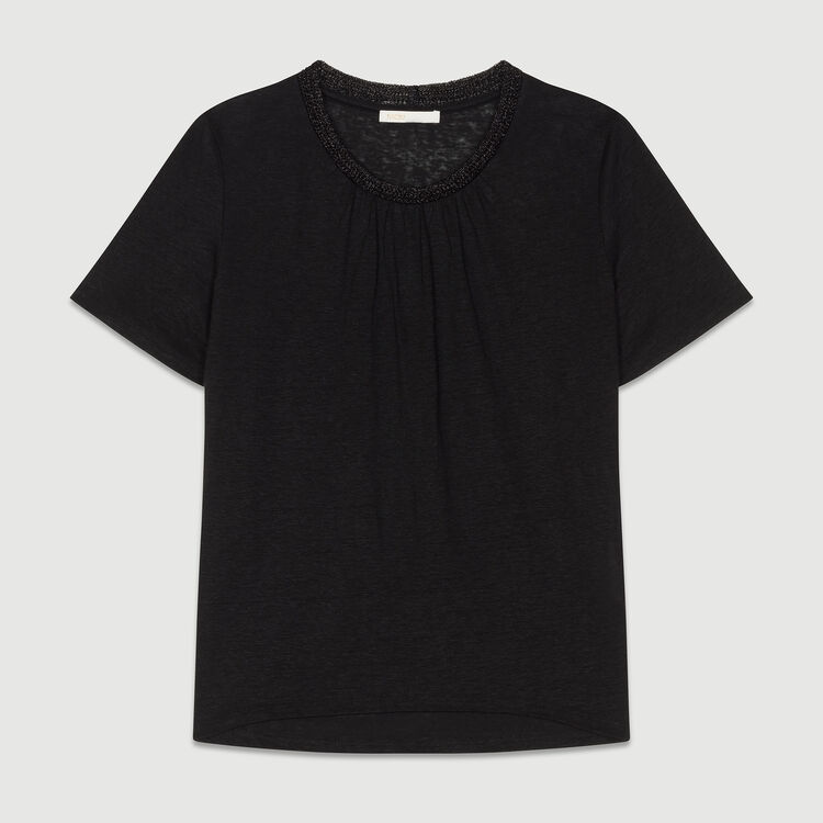 Linen t-shirt with crochet collar : T-Shirts color Black 210