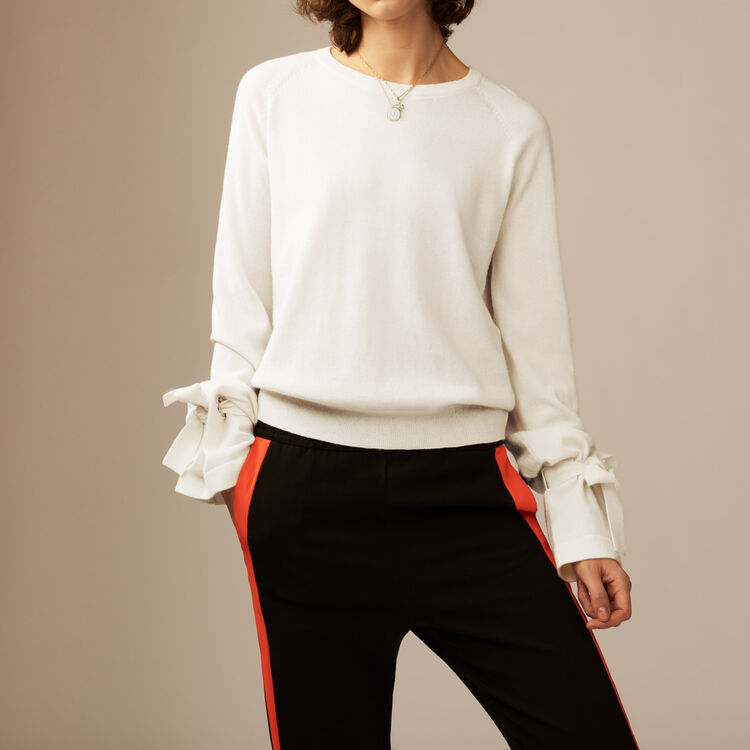 Tie-cuff fine knit sweater : Knitwear color Ecru