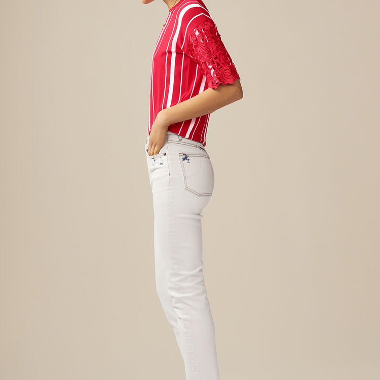 Straight-leg pants with details : Jeans color White