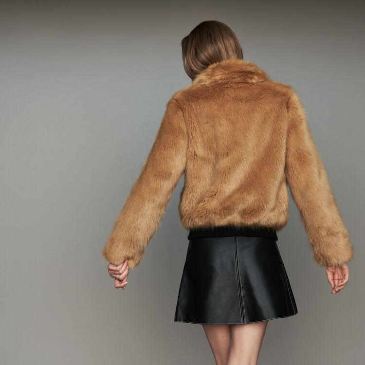 Cropped faux fur jacket : Coats color Camel