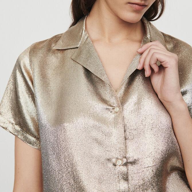 Pajama-style silk blend shirt -  - MAJE