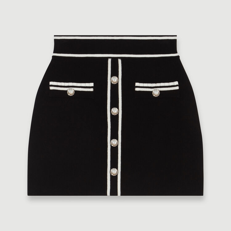 Jeweled contrast knit skirt : Skirts & Shorts color Black