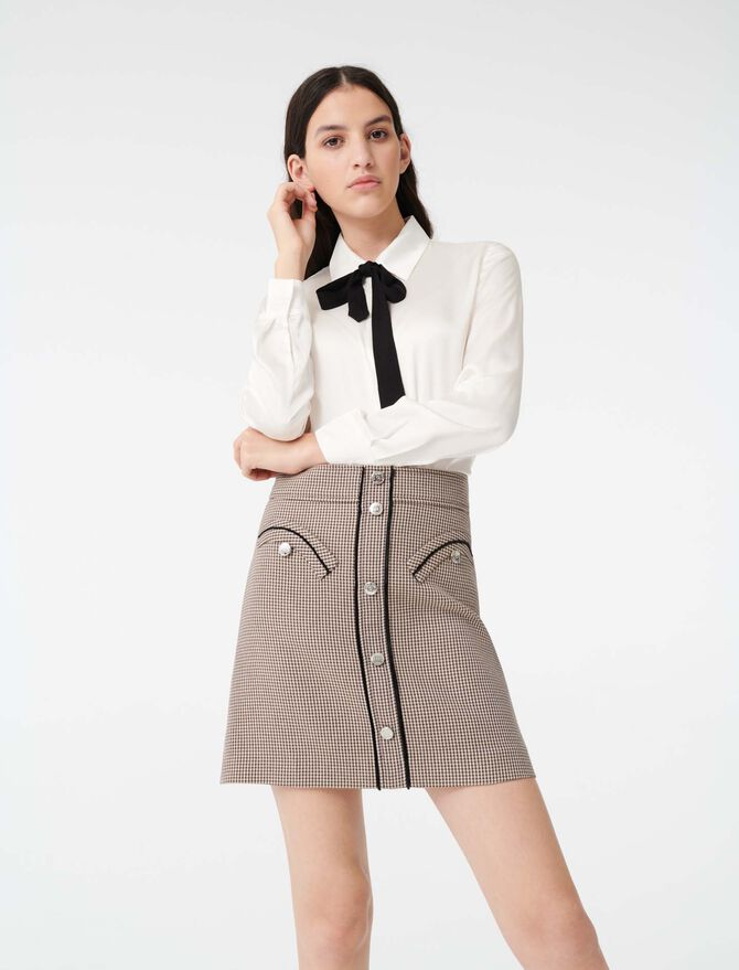 Satin shirt with contrast tie - Tops & Shirts - MAJE
