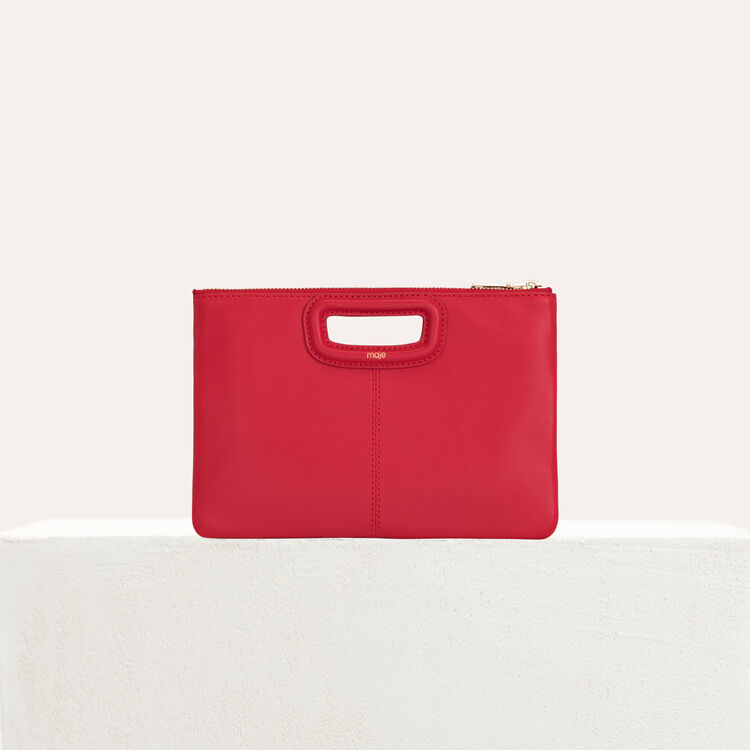 M Duo purse in braided suede and leather : M Duo color Red