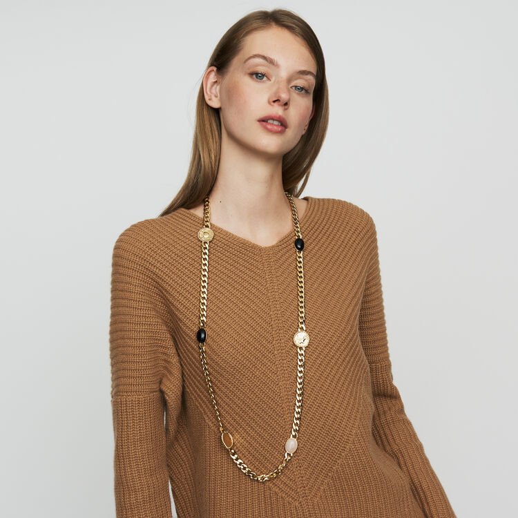 Oversize cashmere sweater : Knitwear color Camel