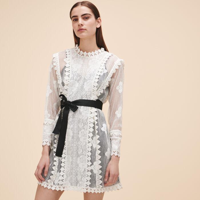 Lace dress with belt - LACE - MAJE
