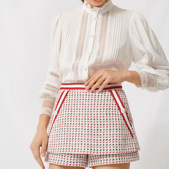 Short tweed-style trompe-l'œil skirt -  - MAJE