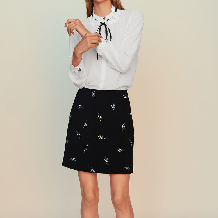 Trapeze skirt with novelty embroidery : Skirts & Shorts color Black 210