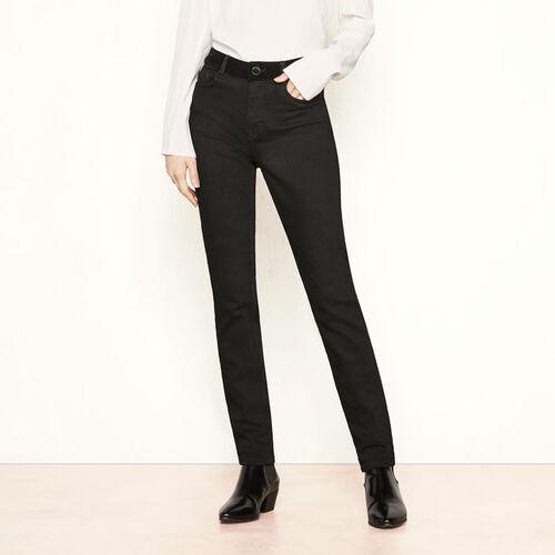 Slim jeans with velvet belt : Trousers & Jeans color BLACK