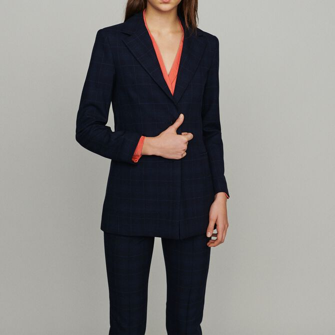 Jacket with check print - See all - MAJE
