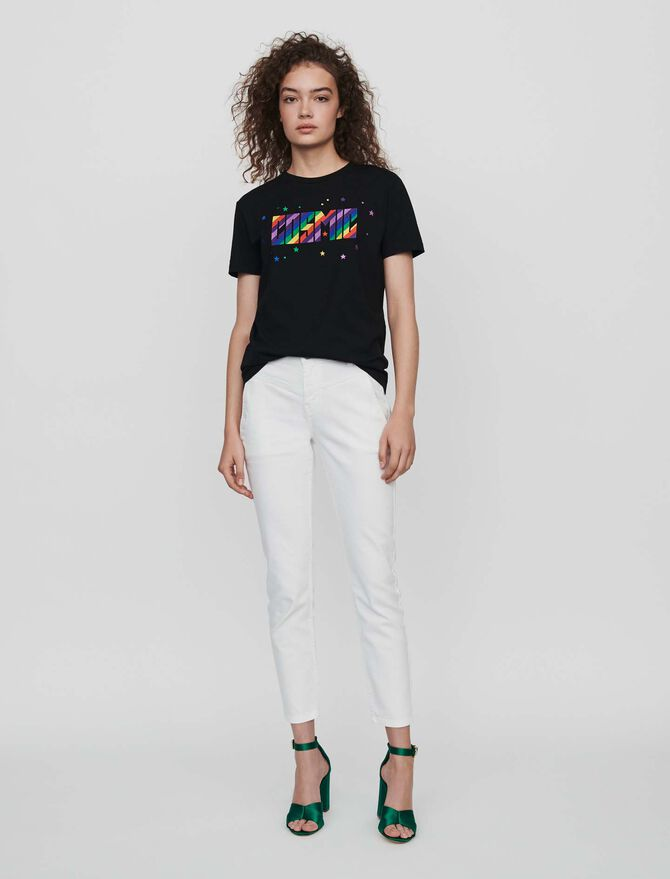 Embroidered tee shirt - SoldesFR_50 - MAJE