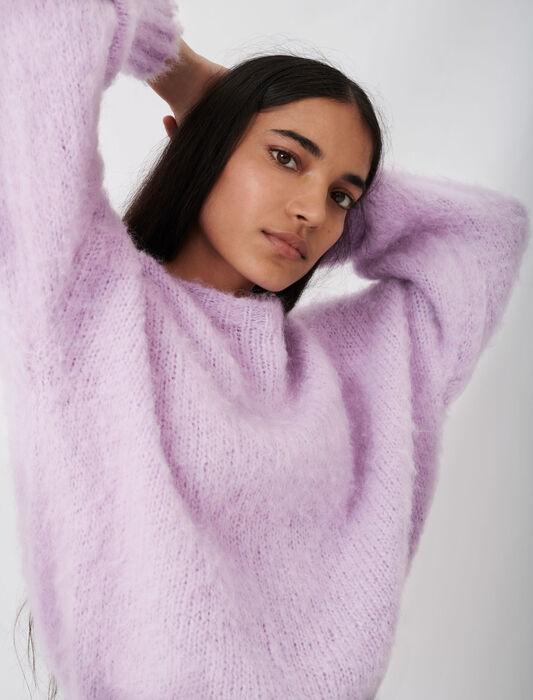 Fluffy knit oversize sweater : SoldesES_Pulls_cardigans color Parma Violet
