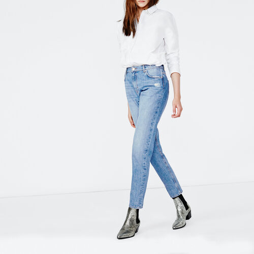 Mom jeans : Trousers & Jeans color Blue