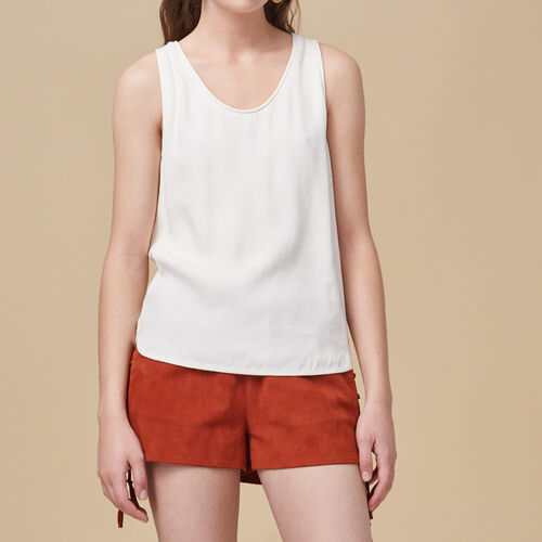 Crêpe vest : Tops color Ecru