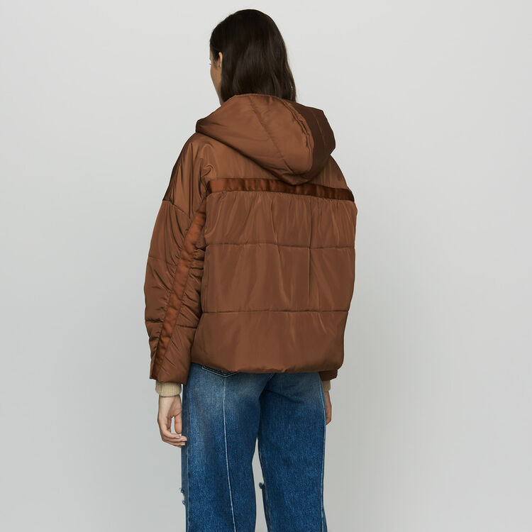 Cropped hooded down jacket : Coats color Caramel