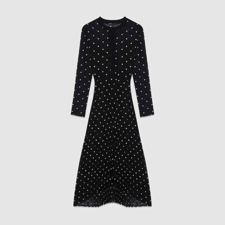Pleated embroidered dress : Dresses color Black