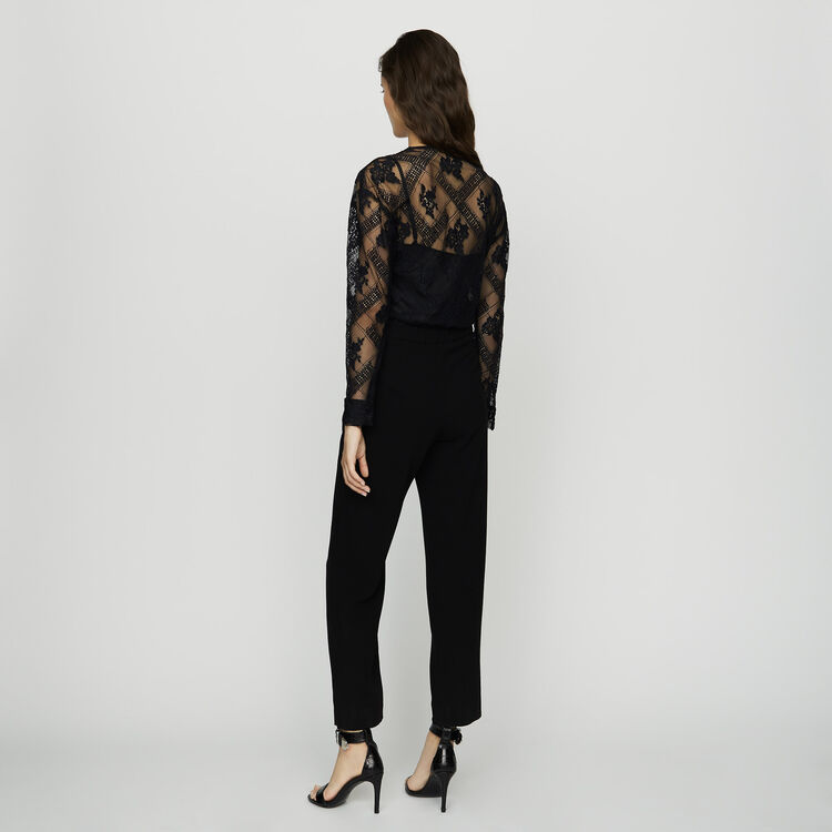 Jumpsuit in crepe and lace : Trousers color Black 210