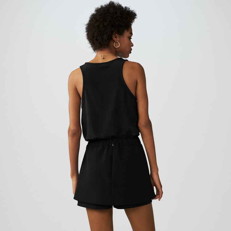 Crepe skort with bee embroidery : Skirts & Shorts color Black 210