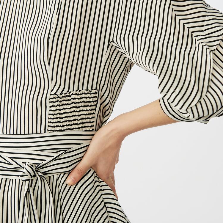 Belted striped dress : Dresses color Stripe