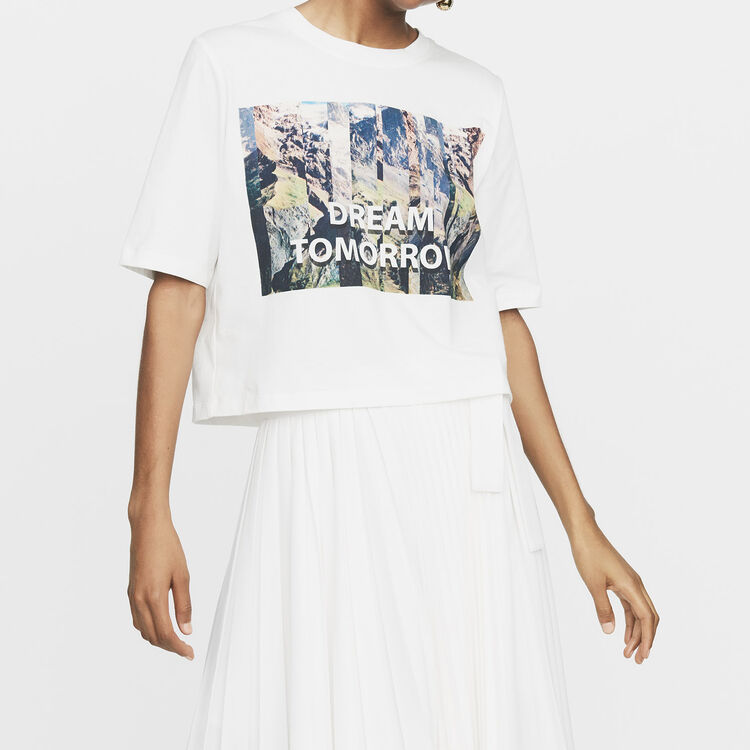 Cropped printed T-shirt : Ready to wear color White