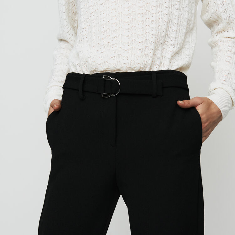 Straight crepe pant : Trousers & Jeans color Black 210