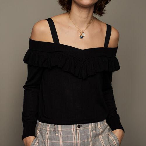 Jumper with flounces : Knitwear color Black 210
