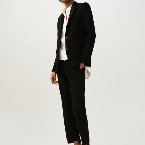 Tailored crepe jacket : Coats & Jackets color Black 210