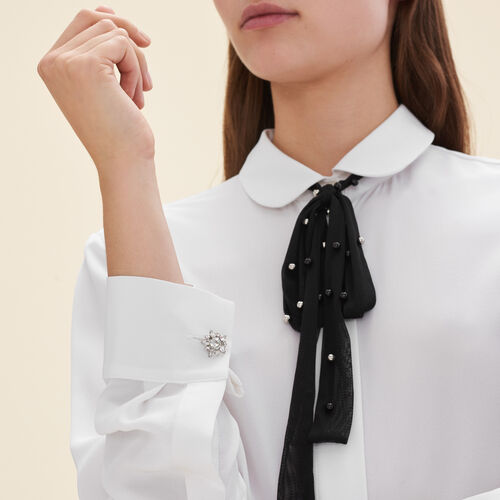 Silk blouse with tulle tie - Shirts - MAJE