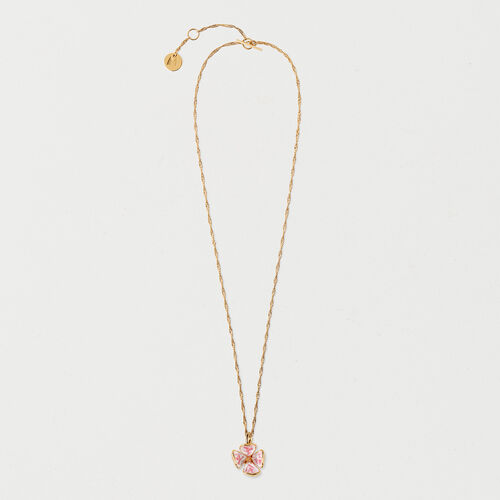 Necklace with pink flower : Summer Collection color GOLD