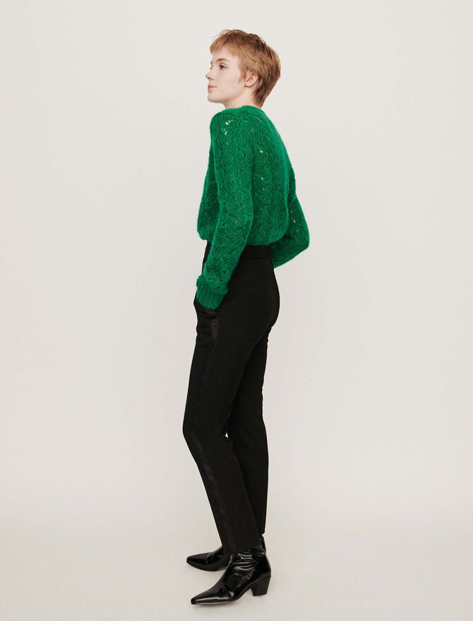 Side satin stripe tuxedo pants - Trousers & Jeans - MAJE