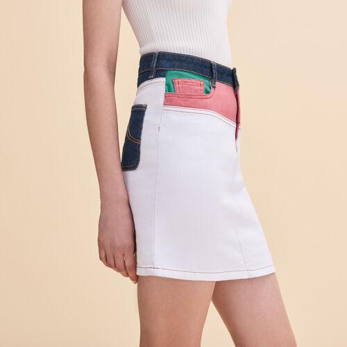 Short multicoloured denim skirt : Skirts & Shorts color Multico