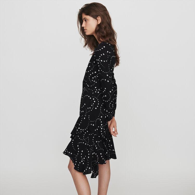 Asymmetrical printed-crepe dress : Dresses color Black