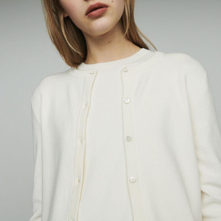 Short cardigan in mixed cotton : Knitwear color Ecru