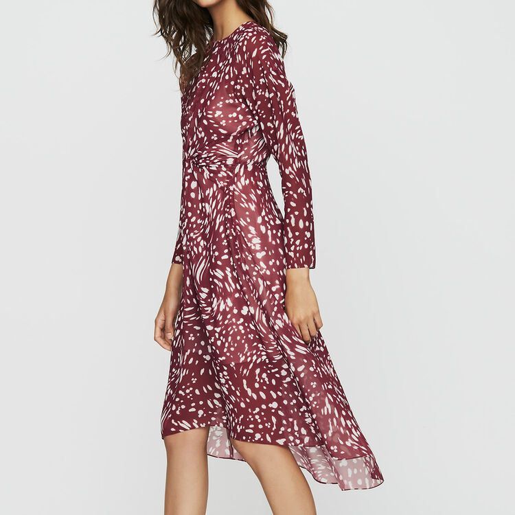 Print asymmetric dress with draping : Dresses color PRINTED