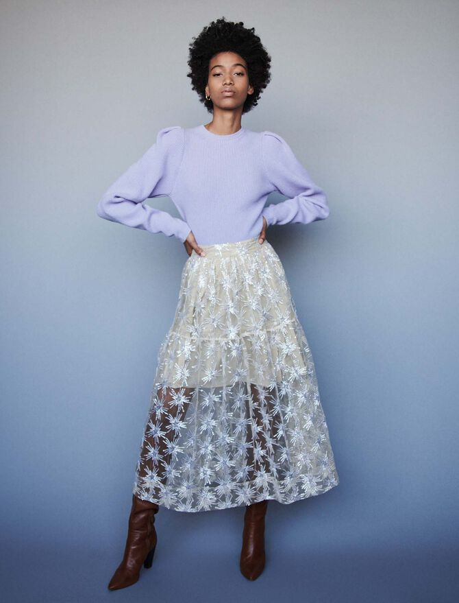 Sequin-embroidered tulle skirt - SoldesFR_ALL - MAJE