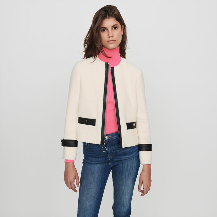 Zipped tweed-style contrast jacket : Blazers color Ecru
