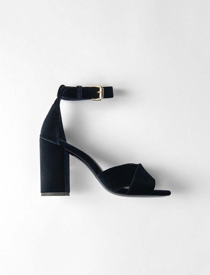 Heeled velvet sandals - Présoldes-Accessoires-BE - MAJE