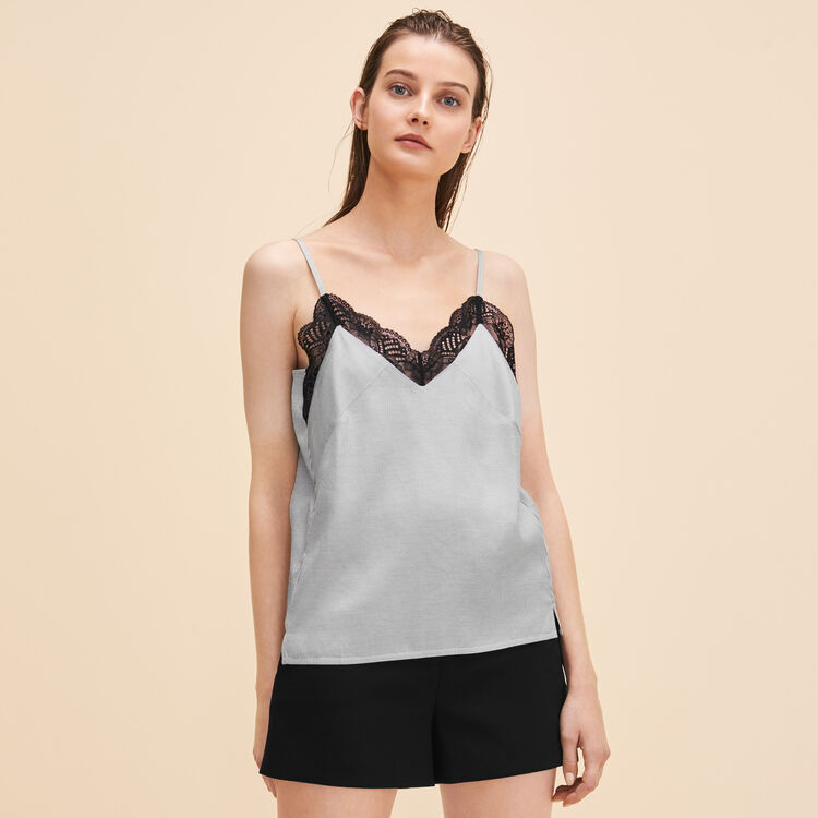 Striped camisole with lace - Tops - MAJE