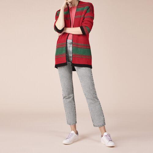 Two-tone moss stitch knit cardigan - Sweaters & Cardigans - MAJE