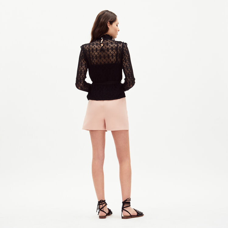 Lace top with satin belt : Majexclusive color Black 210