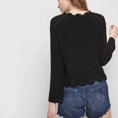 Cardigan with crochet detailing : Sweaters & Cardigans color Black 210