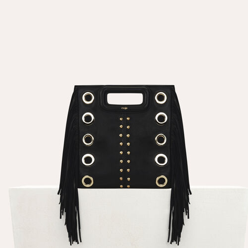M bag in leather with studs and eyelets : M bags color Black 210