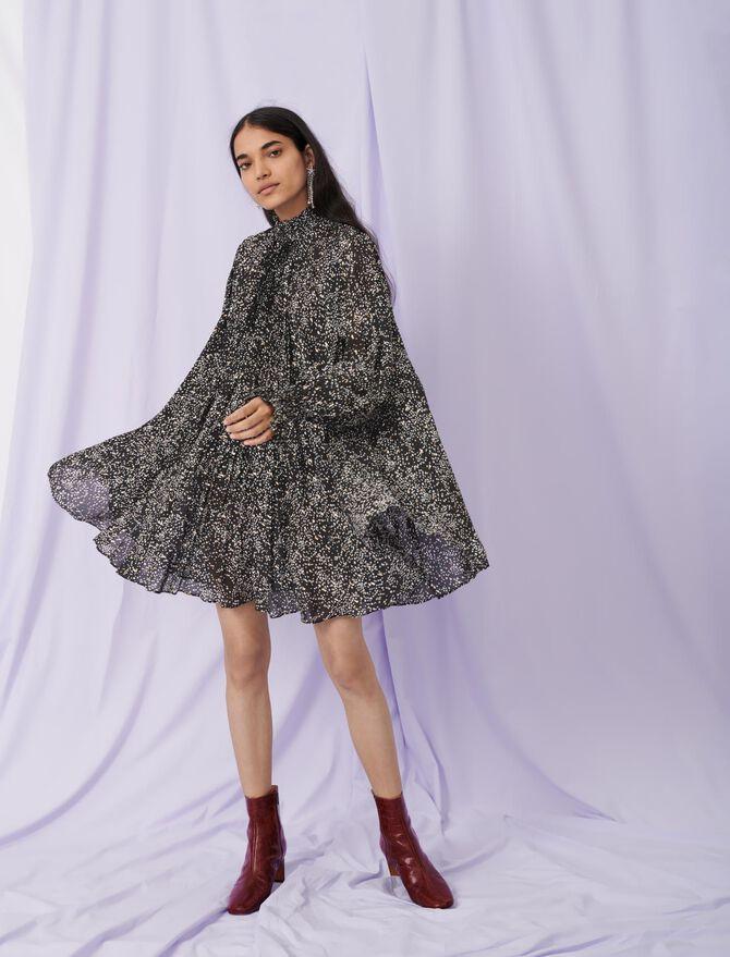 Baby doll dress in printed silk - Dresses - MAJE