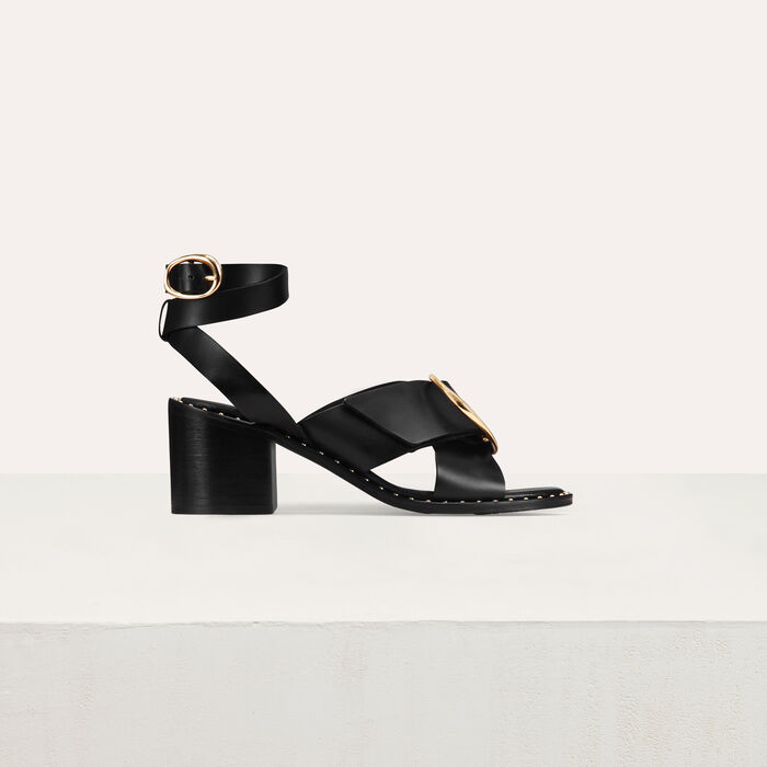 Double-strapped heeled sandals : Shoes color Black 210