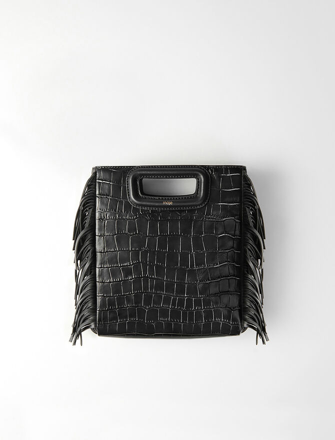Crocodile embossed-leather M bag -  - MAJE